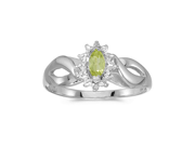 Birthstone Company 10k White Gold Marquise Peridot And Diamond Ring
