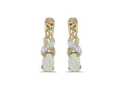 14k Yellow Gold Oval Opal And Diamond Earrings