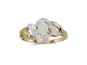 10k Yellow Gold Oval Opal And Diamond Swirl Ring (Size 7)