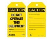 DO NOT OPERATE THIS EQUIPMENT SAFETY TAG 1 EA