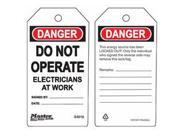 DO NOT OPERATE ELECTRICIANS AT WORK SAFETY TAG 1 EA
