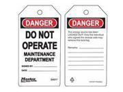 DO NOT OPERATE MAINTENANCE DEPARTMENT SAFETY TAG 1 EA