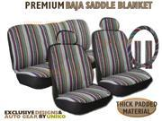 Baja Inca Seat Covers Set – Saddle Blanket – 11pc Front Bucket Rear Bench Steering Wheel