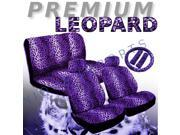 Purple Leopard Seat Covers Set – 11pc Safari Animal Print