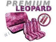 Pink Leopard Seat Covers Set – 11pc Safari Animal Print