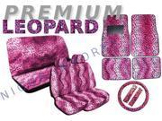 Pink Leopard Seat Covers & Floor Mats Set – 15pc Safari Animal Print