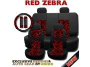 Mesh Red Zebra Seat Covers – Animal Print Accent on Thick Padded Black Mesh – Exclusive from Unique Imports