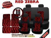 Mesh Red Zebra Seat Covers with Striped Zebra Carpet Floor Mats – Animal Print Accent on Thick Padded Black Mesh – Exclusive from Unique Imports