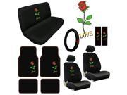 Rose Flower Seat Covers & Floor Mats Set – 15pc