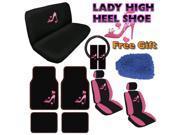 Lady High Heel Seat Covers & Floor Mats Set – 15pc w/ BONUS Wash Mitt