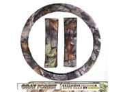Forest Gray Camo Steering Wheel Cover Seat Belt Pads 3pc Set Surreal Camouflage
