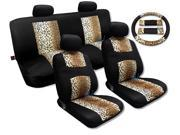 Cool Fur Print Tan Leopard Black Knit Mesh Cool Breeze Spotted Animal Print Seat Cover Set Toyota Camry
