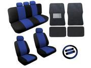 Dual Color Blue/Black Two Tone Car Seat Covers Black Mats Set 18pc Racing Stripe For Volkswagen VW Beetle