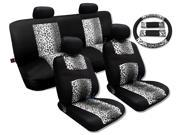 Cool Fur Print Snow Gray Leopard Black Knit Mesh Cool Breeze Spotted Animal Print Seat Cover Set Fits Saab Sedans