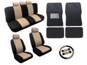 Dual Color Tan/Black Two Tone Car Seat Covers Black Mats Set 18pc Racing Stripe For Subaru Impreza