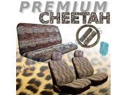 Cheetah Animal Print Safari Auto Interior Gift Set - 2 Cheetah Low Back Front Bucket Seat Covers with Separate Headrest Cover, 1 Cheetah Steering Wheel Cove 9SIA11H6HW0688