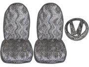 5 Piece Safari Animal Print Auto Interior Gift Set - 2 Cheetah Front Bucket Seat Covers, 1 Cheetah Steering Wheel Cover, and 2 Cheetah Shoulder Harness Pressure 9SIA11H6J18057