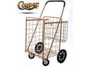 Premium Jumbo Size Folding Shopping Cart with Double Baskets 150 lb Capacity, w/Spinning Wheels, Grocery Shopping Made Easy Utility Cart 3 Colors (Copper) - Hot