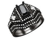 0.5Ct (4*6mm) Retangular Cut Sterling Silver Black 3 pcs Wedding Women Ring Set Size 9