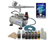 MULTI-PURPOSE Dual-Action AIRBRUSH KIT Air Compressor Createx Paint Color Set