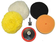 "3"" Buffing Pad Kit, 4 Buff Polishing Pads, Polisher Backing Plate, Drill Adapter"
