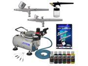 New 3 Airbrush Kit 6 Primary Colors Air Compressor Dual-Action Createx Hobby Set