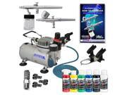 2 AIRBRUSH SYSTEM KIT w/ 6 Primary Createx Paint Color Set, Air Compressor Hobby