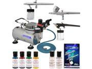 3 AIRBRUSH CAKE DECORATING SYSTEM KIT Air Compressor Americolor Food Color Set