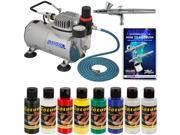 NAIL ART Dual-Action AIRBRUSH SYSTEM 6 Color Custom Paint Set Kit Air Compressor