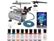2 AIRBRUSH CAKE DECORATING KIT Compressor 8 Color Americolor Food Coloring Set