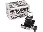 WHITE INTERCHANGEABLE 3-TIERS EXTENDABLE TRAY ZEBRA TEXTURED PRINTING PROFESSIONAL ALUMINUM COSMETIC MAKEUP CASE WITH MIRROR - E3305