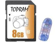 TOPRAM 8GB SD 8GB SDHC Card Class 10 Extreme Speed for Camera & Camcorder with USB Card Reader (bulk pack)