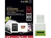SanDisk 64GB 64G microSDXC Extreme 60MB/s U3 microSD 400X micro SD SDXC Class 10 UHS-I C10 Memory Card SDSDQXN-064G with USB 2.0 Card Reader