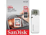 SanDisk 128GB SDXC 128G SD Ultra 40MB/s 266X UHS Secure Digital Extended Capacity Card Class 10 UHS-I with OEM USB 3.0 Card Reader