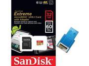 SanDisk 32GB 32G microSDHC Extreme 60MB/s U3 microSD 400X micro SD SDHC Class 10 UHS-I C10 Memory Card SDSDQXN-032G for Samsung Galaxy S4 S5 with USB 2.0 Card Reader