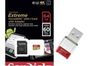 SanDisk 64GB 64G microSDXC Extreme 60MB/s U3 microSD 400X micro SD SDXC Class 10 UHS-I C10 Memory Card SDSDQXN-064G for Samsung Galaxy S4 S5 with USB 2.0 Card Reader
