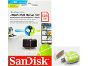 SanDisk 128GB USB 3.0 to microUSB 3.0 OTG Ultra Dual 150MB/s for Android smartphone tablet SDDD2-128G with microSD OTG reader