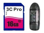 3C Pro 16GB SD 16GB SDHC Card Class 10 Extreme Speed for Camera with R1 Reader
