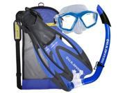 U.S. Divers Adult Mask Snorkel and Fins Gear Bag in Electric Blue Large