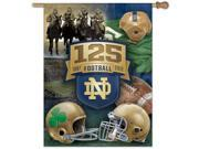 Show your team pride with this officially licensed flag. Standard 27 x 37 size with a 2.5 pole sleeve. Designed to hang vertically from an outdoor pole or inside as wall decor. Durable polyester construction. Built to last for many seasons to come. Machine washable. Poles and hardware not included. Made in the USA Size/Dimensions: 27 x 37 Team: Notre Dame Fighting Irish Sport: NCAA Item Count: 1