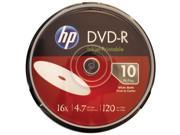 HP DM16WJH010CB 4.7GB 16x Printable DVD-Rs, 10-ct Cake Box Spindle