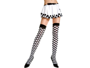 Sexy Black, White Opaque Checkered Thigh High Costume Stockings, One Size