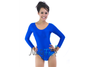 Blue Scoop Neck Long Sleeve Leotard