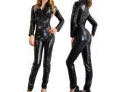 Sexy Gothic Black Wet Look Metallic Catsuit Fetish Bodysuit Superhero Costume 9SIA24W1M70739