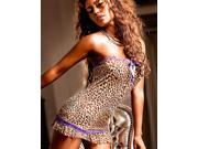 Leopard-Purple Lace Tube Babydoll Dress