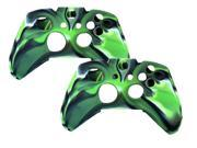 2 Pack For Xbox ONE XboxONE Game Controller - Silicone Gel Rubber Camouflage Pattern Skin Case Cover - Green
