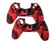 2 Pack For PS4 Sony Playstation 4 Game Controller - Silicone Gel Rubber Camouflage Pattern Skin Case Cover - Red