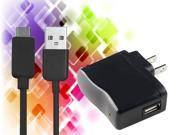 Black US Wall AC Charger Adapter + 6FT Micro USB Cable for Kindle Fire HD 7 Inc 8.9 Inc Tablet / Samsung Galaxy S2 / S3 / S4 / Galaxy Note Note 2 II - 2 In 1