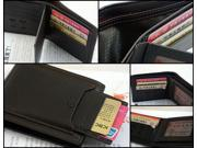 PiDengBao Mens Bifold Genuine Leather Wallet Purse Credit Card Holder Clutch BLACK