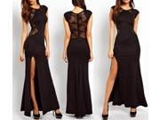 Womens Long Sleeve V Neck Lace Club Evening Cocktail Long Maxi Party Dress- (S/ M/ L/ XL)